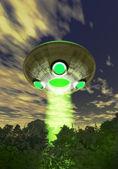 一森林上空的不明飞行物外星人 — 图库照片