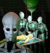 Ufo alien abduction — Stock Photo