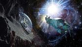 Raumschiff und asteroiden — Stockfoto