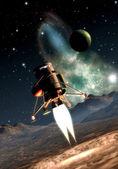 Spaceship landing — Stock Photo