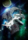 Persecución de la nave espacial — Foto de Stock