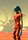 Alien and desert — Stock Photo