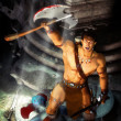 Barbarian fantasy warrior — Stock Photo