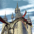 Dragon and fantay castle — Stock Photo