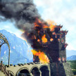 Stock Photo: Burning castle