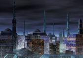 Sfondo città futuristica — Foto Stock