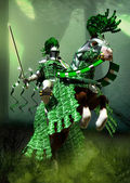 Fantasy green knight — Stock Photo