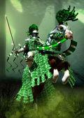 Fantasy green knight — Stock Photo