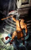 Barbarian fantasy warrior — Stock Photo