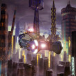 Stock Photo: Futuristic city and flying car
