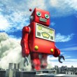 Stock Photo: Giant tin toy robot and city