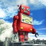 Giant tin toy robot and city — Stock Photo