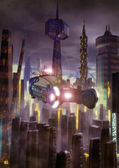 Futuristic city and flying car — Stock Photo