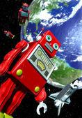 Robot gigante giocattolo di latta e dello space shuttle — Foto Stock