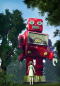 Giant tin toy robot and garden girl — Stock Photo