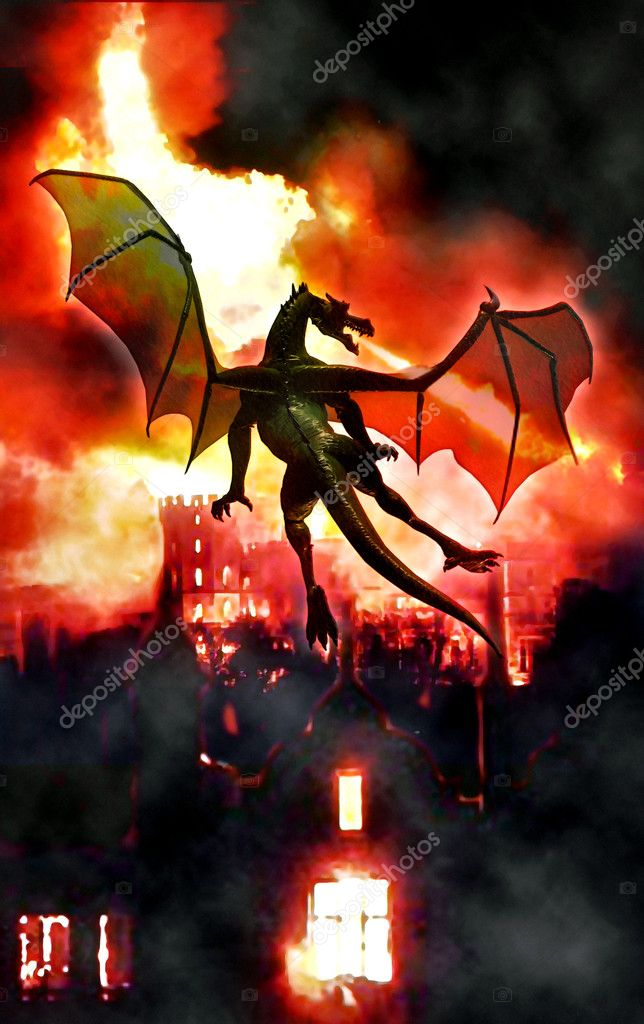 Fantasy dragon fire 3D illustration — Stock Photo #7240327