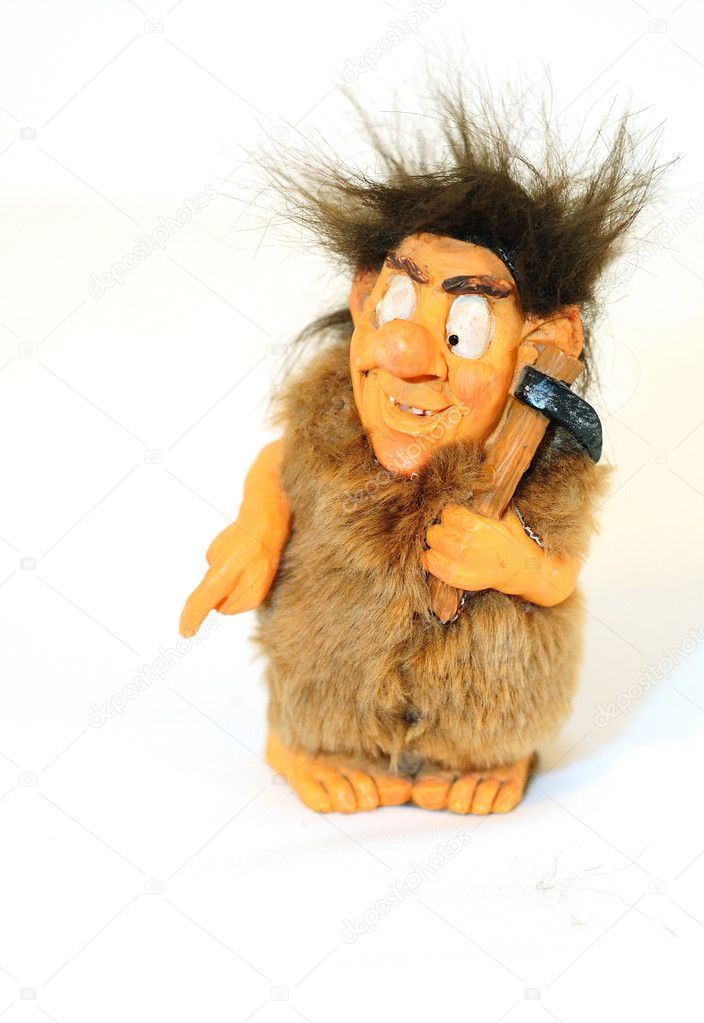 Primitive man toy isolated on white background. — Stock Photo #7184000