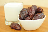 Medjoul dates and milk. — Stock Photo