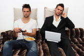 Gamer and Businessman side by side — Stock Photo