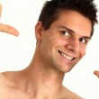 Young man smiling and pointing at himself with success — Stock Photo #7599044