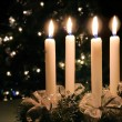 Christmas advent wreath with burning candles — Stock Photo
