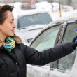 Winter time - person cleaning car — Stock Photo #7170815