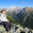 Relax on hiking - sunning in mountains — Stock Photo