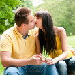 Intimate moments - couple kissing outdoors — Stock Photo