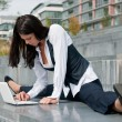 Stock Photo: Flexible business - womwith laptop