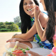 Friends having great time when eating outdoors — Stock Photo #7172191