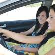 Stock Photo: Two friends driving in car