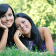 Two happy sisters lying outdoors in grass — Stock Photo #7172265