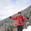 Winter portrait of senior woman in mountain snowy land — Stock Photo #7172690