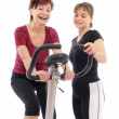Senior woman with trainer — Stock Photo