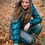 Fall scene - happy woman — Stock Photo