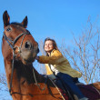 Woman riding on big browm horse - Stock Photo