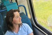 Young woman travelling by train — Stock Photo