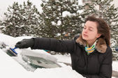 Winter time - person cleaning car — Stock Photo