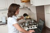 Bussy woman - work at home — Stock Photo