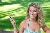 Listening music - woman portrait — Stock Photo