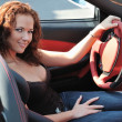 Young beautiful woman in sport car — Stock Photo #7271606