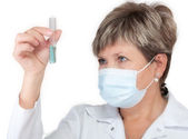 Laborant holding test-tube — Stock Photo