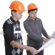 Achitects looking on blueprints — Stock Photo