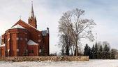 Církev a strom — Stock fotografie