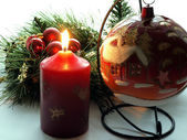 Candle in the christmas time — Stock Photo