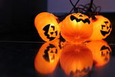Closeup of light decorations Halloween pumpkin-shaped — Stock Photo