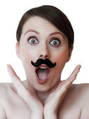 Close up of young woman with moustache — Stock Photo