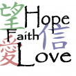 Chinese symbols for hope, faith and love - Stock Vector