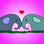 Elephants in love — Stock Vector