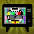 Old television with test screen on grunge background — Stock Vector